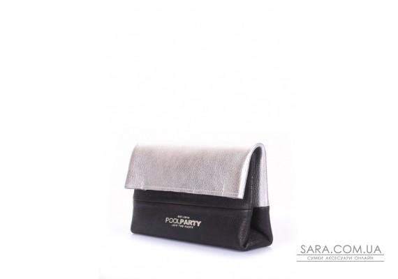 Шкіряна сумочка-клатч POOLPARTY 2NITE (pool-2nite-silver-black)
