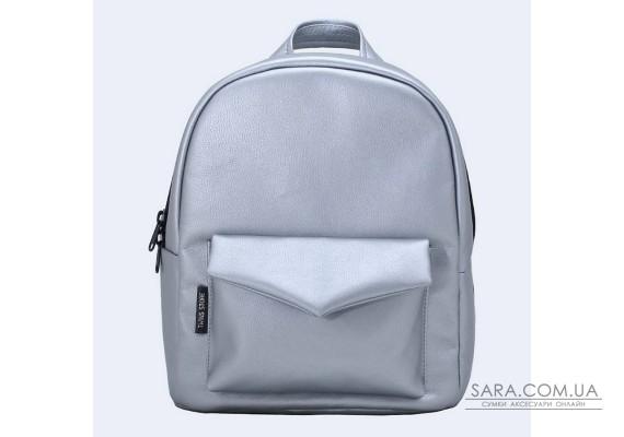 Срібний шкіряний (еко) рюкзак small TwinsStore