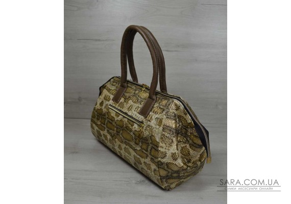 Класична жіноча сумка Олівія золота змія WeLassie