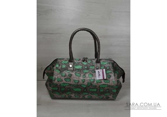 Класична жіноча сумка Олівія сіра з зеленим змія WeLassie
