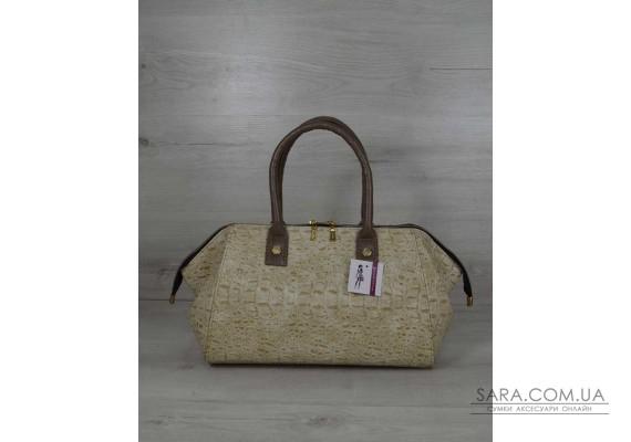 Класична жіноча сумка Олівія бежевий крокодил WeLassie