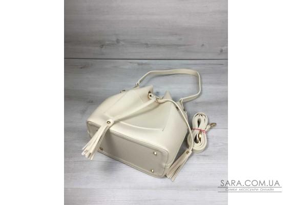 Молодіжна сумка з еко-шкіри Люверс бежевого кольору WeLassie