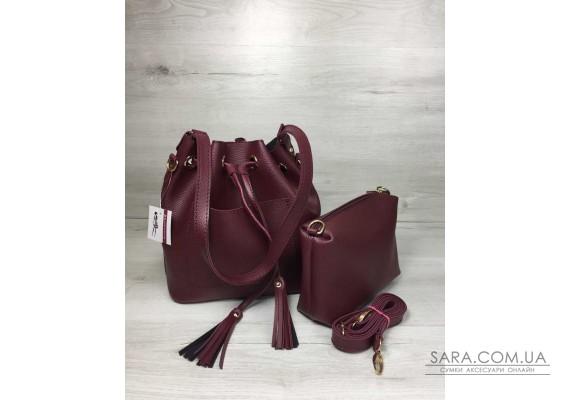 Молодіжна сумка з еко-шкіри Люверс бордового кольору WeLassie