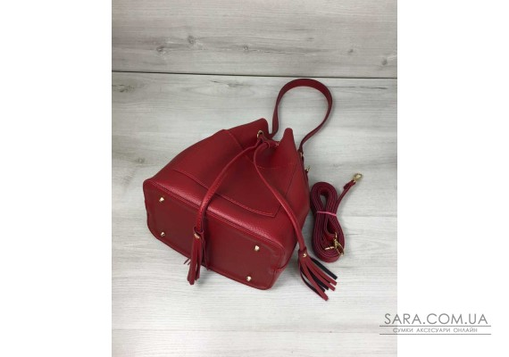 Молодіжна сумка з еко-шкіри Люверс червоного кольору WeLassie