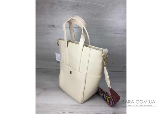 Молодіжна жіноча сумка Мілана бежевого кольору WeLassie