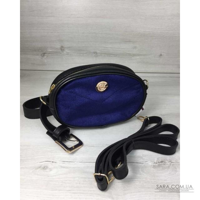 Жіноча сумка на пояс - клатч WeLassie чорного кольору синій Оксамит  WeLassie дешево 033ac38d944d7