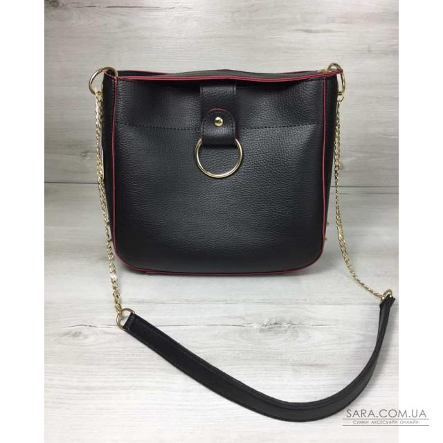 18249f1ca7cb Купить Молодежная женская сумка Ева черного с красным цвета WeLassie ...