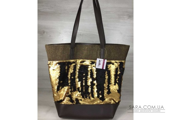 Сумка Гумка коричневого кольору з паєтками золото-чорний WeLassie