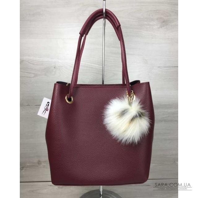 675279a69cb1 Купить 2в1 Молодежная женская сумка Пушок бордового цвета WeLassie ...