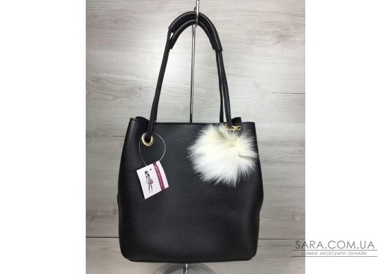 2в1 Молодіжна жіноча сумка Пушок чорного кольору WeLassie
