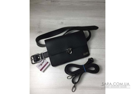 Жіноча сумка на пояс - клатч Арья чорного кольору WeLassie