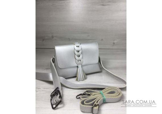 Жіноча сумка на пояс - клатч Белла срібного кольору з плетінням і пензликом WeLassie