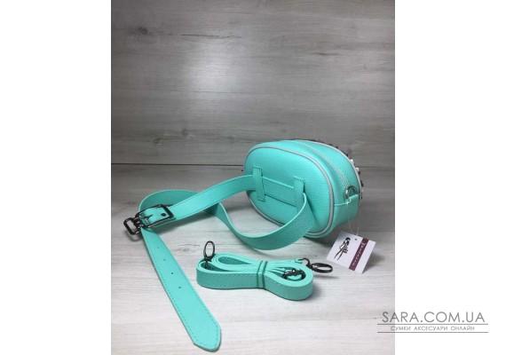 Жіноча сумка на пояс - клатч WeLassie м'ятного кольору Паєтки срібло-срібло WeLassie