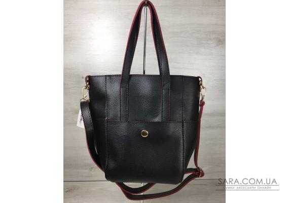 Молодіжна жіноча сумка Мілана з класичним ременем чорна з червоними торцями WeLassie