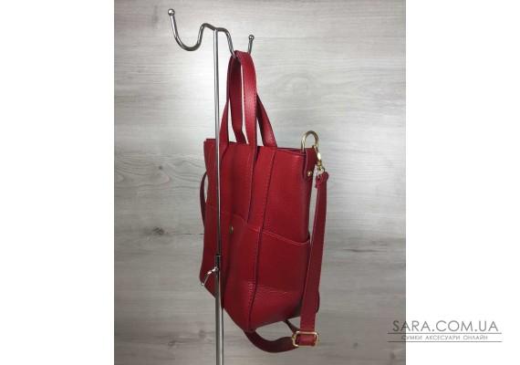 Молодежная женская сумка Милана с классическим ремнем красного цвета WeLassie