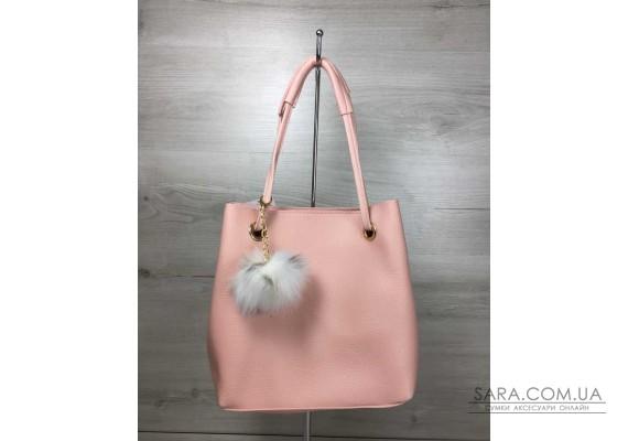 2в1 Молодіжна жіноча сумка Пушок пудрового кольору WeLassie