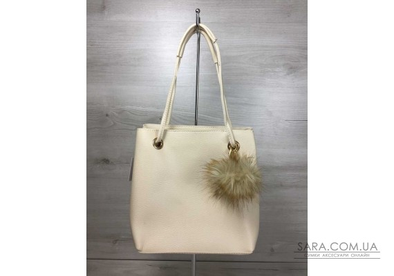 2в1 Молодіжна жіноча сумка Пушок бежевого кольору WeLassie