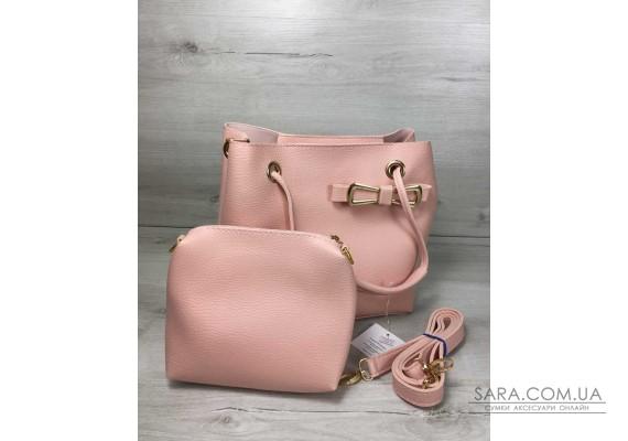 2в1 Молодежная женская сумка Бантик пудрового цвета WeLassie
