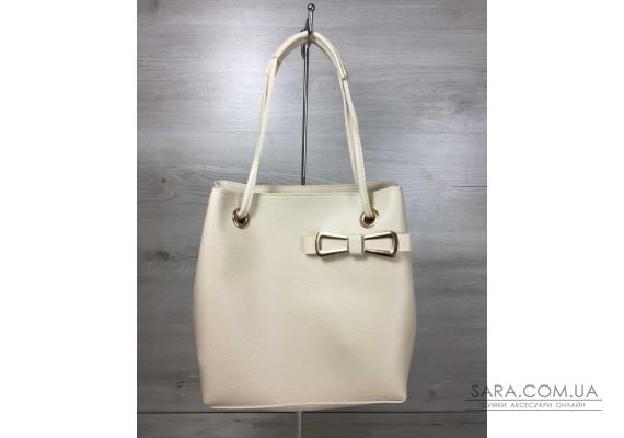 2в1 Молодежная женская сумка Бантик бежевого цвета WeLassie