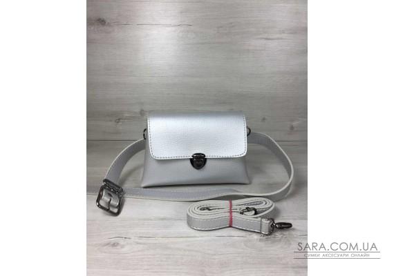 Жіноча сумка на пояс - клатч Белла срібного кольору WeLassie