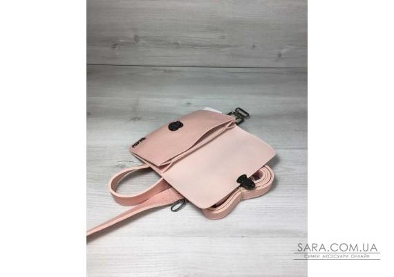 Жіноча сумка на пояс - клатч Арья пудрового кольору з черепашачими тисненням WeLassie