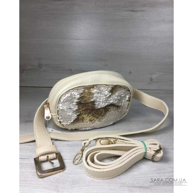 c192ba384898 Женская сумка на пояс- клатч WeLassie бежевого цвета Пайетки золото-серебро  WeLassie дешево
