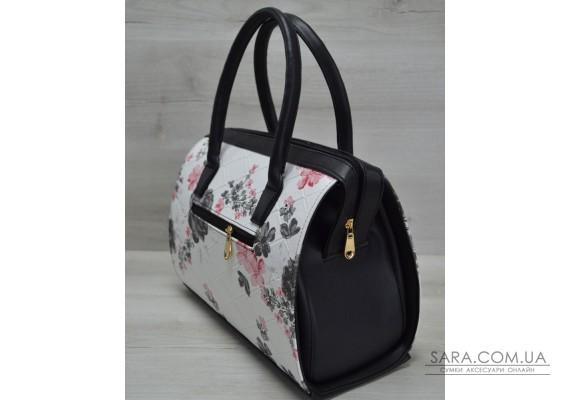Каркасная женская сумка Саквояж черные цветы с черными ручками WeLassie