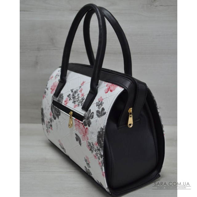 Каркасная женская сумка Саквояж черные цветы с черными ручками WeLassie  дешево 4072a9565c9