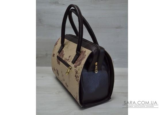 Каркасная женская сумка Саквояж бежевые цветы с коричневыми ручками WeLassie