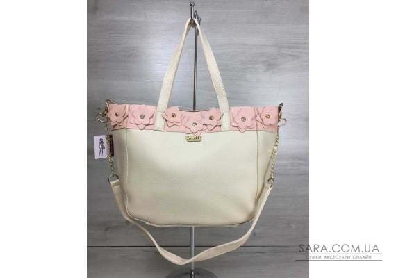 Жіноча сумка Дарина бежевого з пудровим кольору WeLassie