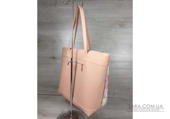 Жіноча сумка Лейла пудрового кольору з паєтками у вигляді кульок WeLassie