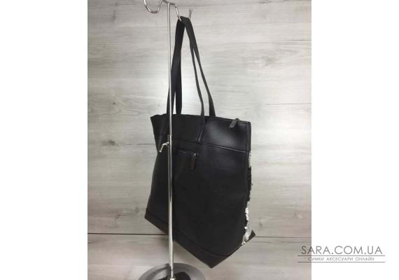 Жіноча сумка Лейла чорного кольору з двосторонніми паєтками срібло-чорний WeLassie