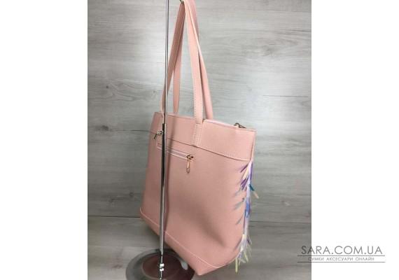 Жіноча сумка Лейла пудрового кольору з паєтками WeLassie
