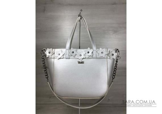 Жіноча сумка Дарина срібного кольору (нікель) WeLassie
