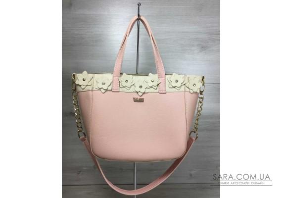 Жіноча сумка Дарина пудрового з бежевим кольору WeLassie