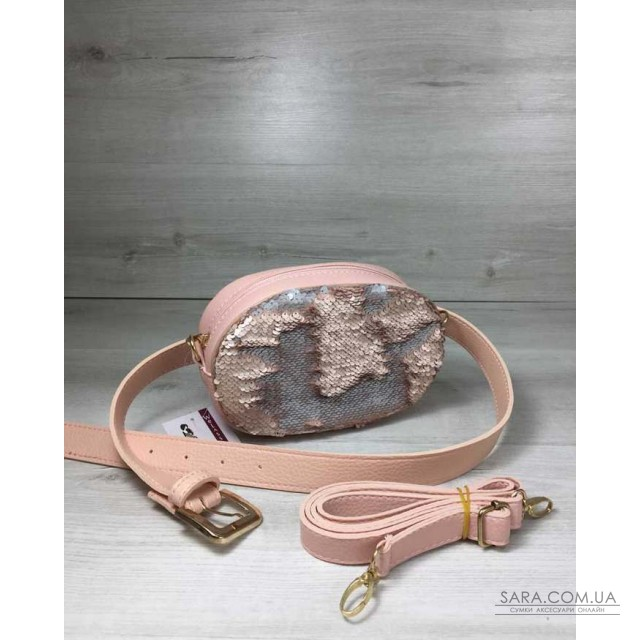 Жіноча сумка на пояс - клатч WeLassie пудрового кольору Паєтки срібло-пудра  WeLassie дешево 9e46450b18919