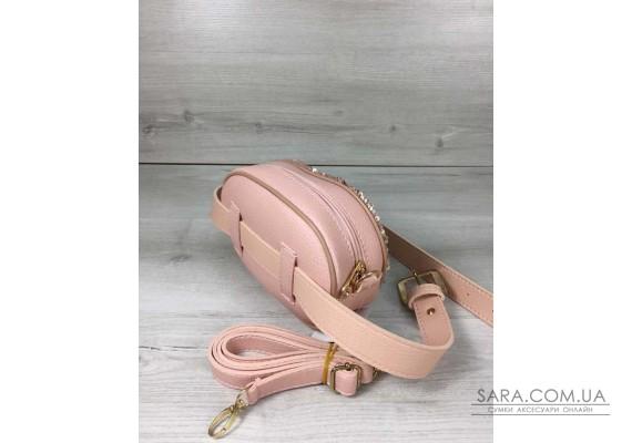 Жіноча сумка на пояс - клатч WeLassie пудрового кольору Паєтки срібло-пудра WeLassie