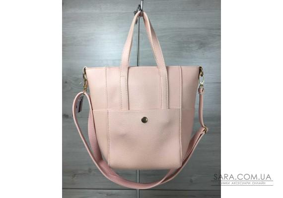 Молодежная женская сумка Милана  с классическим ремнем пудра цвета WeLassie