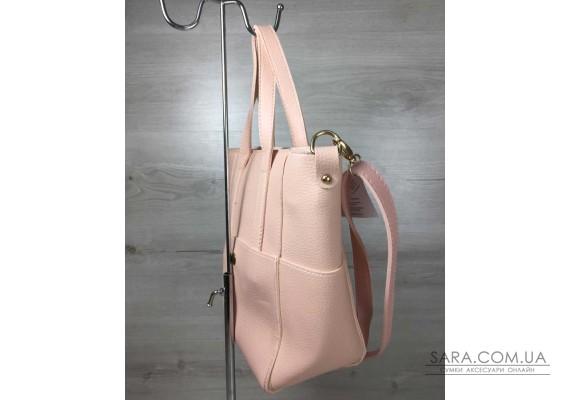 Молодіжна жіноча сумка Мілана з класичним ременем пудра кольору WeLassie