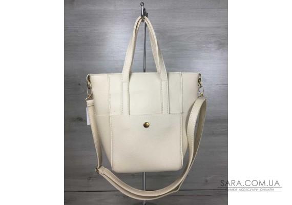 Молодіжна жіноча сумка Мілана з класичним ременем бежевого кольору WeLassie