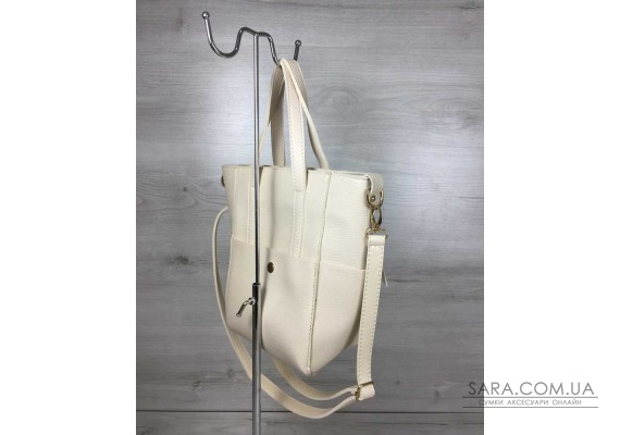 Молодежная женская сумка Милана  с классическим ремнем бежевого цвета WeLassie