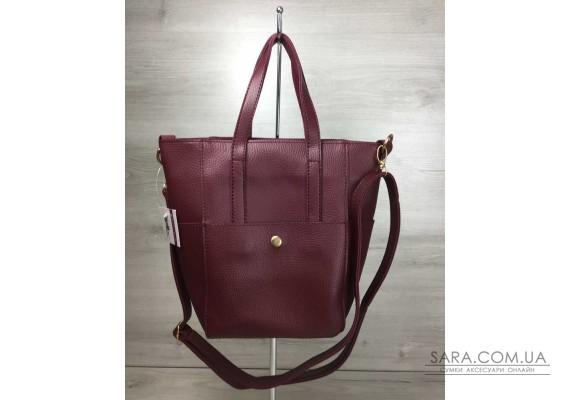 Молодіжна жіноча сумка Мілана з класичним ременем бордового кольору WeLassie