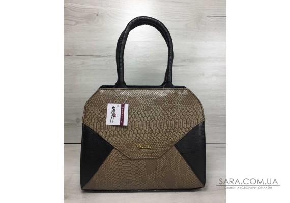 Жіноча сумка Конверт чорного кольору зі кавова реплилия WeLassie