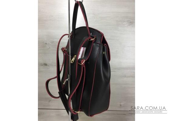 Молодіжний сумка-рюкзак Серце чорного кольору з червоним WeLassie
