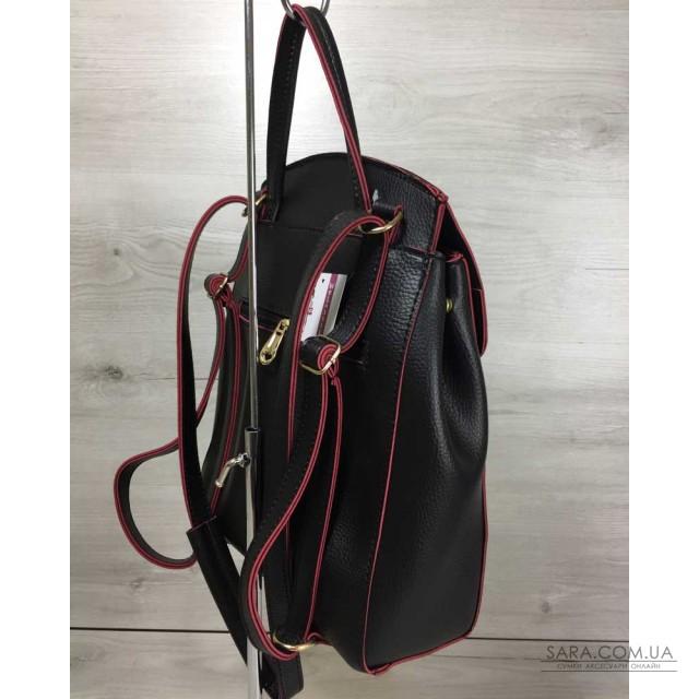 ca6762dda3de Молодежный сумка-рюкзак Сердце черного с красным цвета WeLassie дешево