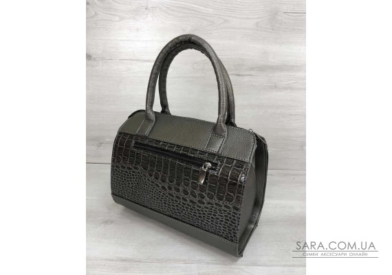 Жіноча сумка Маленький Саквояж кольору металік зі вставкою коричневий лаковий крокодил WeLassie