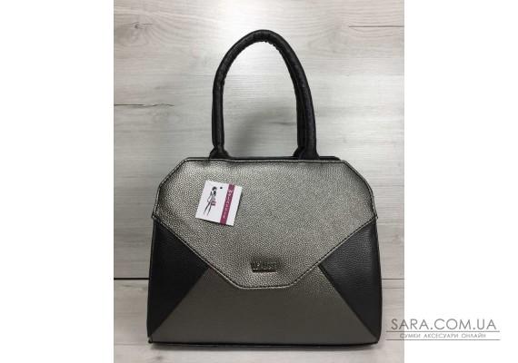 Жіноча сумка Конверт чорного кольору зі вставкою металік WeLassie