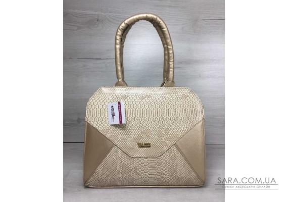 Жіноча сумка Конверт золотого кольору зі вставкою бежева рептилія WeLassie