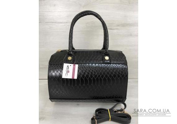 Жіноча сумка Маленький Саквояж чорного кольору зі вставкою чорний крокодил WeLassie