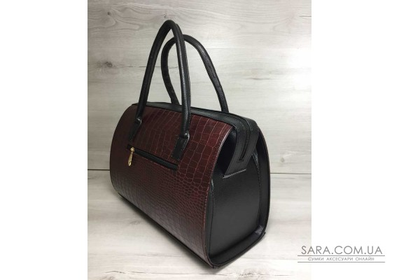 Каркасна жіноча сумка Саквояж бордовий крокодил з чорними ручками WeLassie